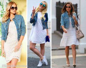 джинсовий піджак з сукнею, пиджак с платьем, девушка в джинсовом пиджаке