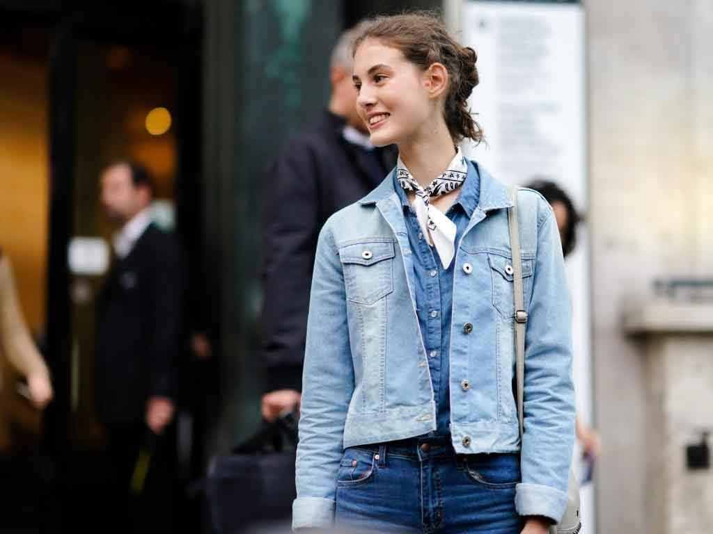 джинсовий піджак, дівчина в джинсовому піджаку